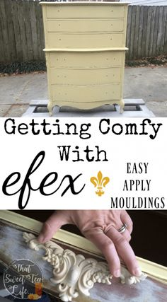 French_Provincial_Chest-rescued furniture Modern_Masters_Gold-stenciling-Appliques can take a worn out piece and make it new again! Furniture Makeover, Furniture Ideas, Modern Furniture, Chalk Painting, Painting Tips, House Beautiful, Beautiful Homes, Clay Molds, Wood Appliques