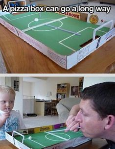 15 Awesome Things You Can Make With a Stupid Pizza Box I love the soccer game and the solar oven ideas # Games For Kids, Diy For Kids, Crafts For Kids, Cereal Box Craft For Kids, School Projects, Projects For Kids, Recycled Projects Kids, Home Activities, Summer Activities