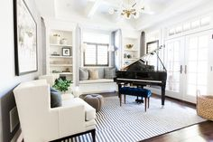 Piano Room with a Modern + Traditional Mix || Studio McGee