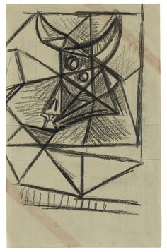 Pablo Picasso TAUREAU Graphite on paper 8 1/4 by 5 1/4 in. 20.9 by 13.3 cm Executed in 1942.