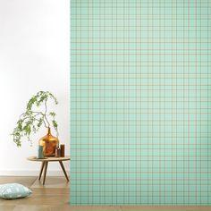 Roomblush behang wallpaper grid pastelgreen behangpapier woonkamer slaapkamer interieur design muurdecoratie