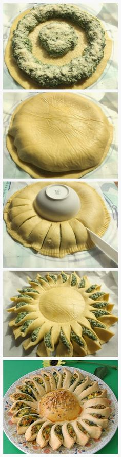 Sunny Spinach Pie ~ Change your mind and check out this recipe! This sunny spinach pie is one of the best ideas to serve as a party appetiser. It's loaded with tasty ingredients like Parmesan, bread crumbs, spinach, ricotta, and some other, and shaped like a sun it looks truly unusual and intriguing.