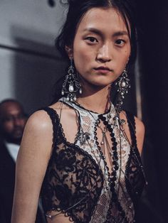 Wangy Xinyu backstage at Alexander McQueen SS16