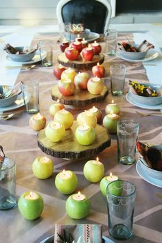 Ombre Apples (red to green) with tea lights as a centerpiece | Little Green Notebook