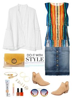 """On the Fringe"" by musicfriend1 ❤ liked on Polyvore featuring Lucky Brand, Gap, Current/Elliott, Pleats Please by Issey Miyake, Halston Heritage, Gas Bijoux, Vita Fede, Forever 21, Kevyn Aucoin and It Cosmetics"