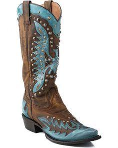 Stetson Eartha Studded Turquoise Eagle Cowgirl Boots - Snip Toe