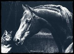 The Godolphin Arabian. One of the founding stallions of the Thoroughbred breed. Pictured with his beloved companion- the cat, Grimalkin.