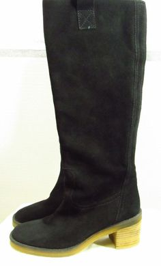 Boden Black Suede Riding Boots 37 US 6 Medium Block heel 846099 Made in Spain #Boden #RidingEquestrian #Casual