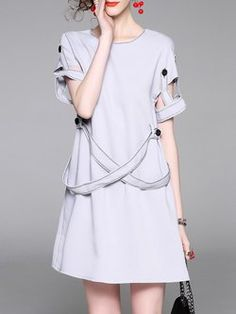Gray Statement Cutout H-line Mini Dress