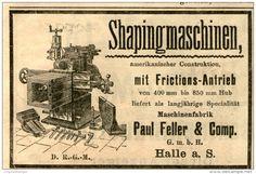 Original-Werbung/ Anzeige 1903 : SHAPINGMASCHINEN / MASCHINENFABRIK FELLER / HALLE A.S. - ca  100 x 65 mm
