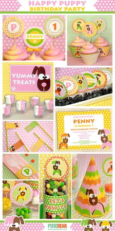 Puppy Birthday Party for girls - printable decorations by PixieBearParty on Etsy, $15.00
