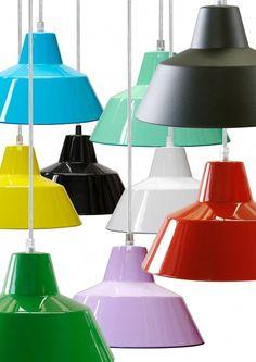 Hanglamps vaerkstedslampe - aluminium hanglamp van e-form - hier kopen! Ikea Design, Interior Decorating, Lights, Retro, Home Decor, Workshop, Hardware, Colorful, Decoration