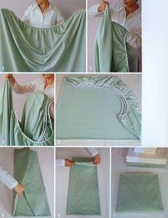 How to fold a fitted sheet so it lays flat! My mother made me practice this and I am thankful she did! Keeps the linen closet neat and tidy plus I use it at work daily! Thanks Mom!