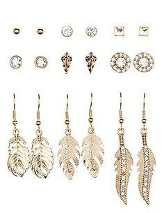 Feather Rhinestone Mixed Earrings 9 Pack #CharlotteLook