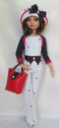 ELLOWYNE'S ANCHORS AWAY OUTFIT W/SHRUG, HAT & TOTE, by ssdesigns via eBay, SOLD 6/13/15 BIN $54.99