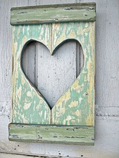 This is actually scrap from a door frame, but easily make to mimic a shutter with a heart cut-out, Recycled Wood Heart Shutter by woodenaht on Etsy, Wood Projects, Craft Projects, Projects To Try, Diy Signs, Wood Signs, Old Wood, Weathered Wood, Barn Wood, Home Crafts