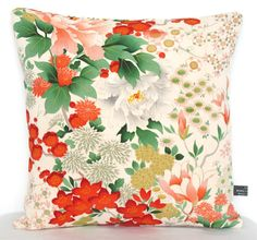 Ltd Edition Pillow Cushion in Peach, Cream, Red & Green Hand Painted…