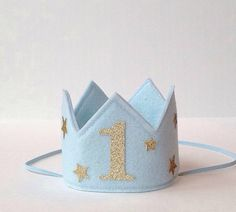 Baby Blue Gold Stars Felt Mini First Birthday Crown Headband, Glitter One, Baby Boy, Prince, Smash Cake Photo Prop, Year Old Party Pictures by LittleLoveLane on Etsy https://www.etsy.com/listing/220085973/baby-blue-gold-stars-felt-mini-first