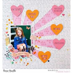 """""""Oh my... I am absolutely in LOVE with this beautiful page from Marcia using our Free Spirit collection! How cute are those hearts bursting from that…"""""""