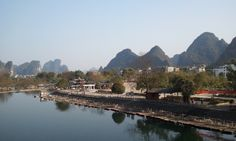 Yangshuo, China--it almost looks as if the Lime Mountains are blowing in the wind.