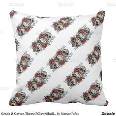 Grade A Cotton Throw Pillow/Skulls and Roses Pillow