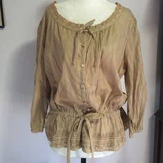 Art & Soul Peasant Blouse - NWT 100% cotton with lace detail, 3/4 sleeves & button down front. Lace trims the neckline & the hem w/ accent adjustable ties! Art & soul Tops