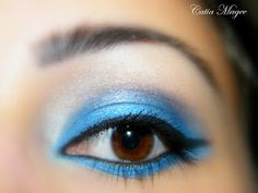 Beauty By Cat: Blue Look ~ Urban Decay eyeshadow primer. Nyx jumbo eyeshadow pencil in cottage cheese, Pure Fusion Mineral eyeshadows in Blueberry and Pyramid, Black liquid eyeliner, Black eyeliner, Black Mascara