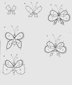 Pretty little tatted butterflies! Tatting Necklace, Tatting Jewelry, Lace Jewelry, Tatting Lace, Shuttle Tatting Patterns, Needle Tatting Patterns, Crochet Patterns, Tatting Tutorial, Butterfly Pattern