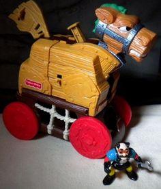 Vtg Fisher Price Great Adventure Castle Trojan Horse Crazy Mechanic Figure 77039 #FisherPrice
