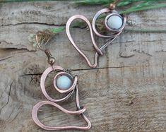 Sweet heart wire wrapped earrings,Love earrings,Wire earrings,Wire jewelry,Copper jewelry,Wire heart earrings,Love jewelry,Boho jewelry