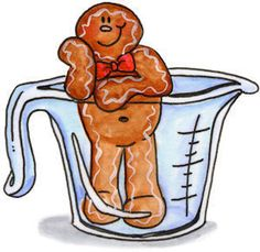 CHRISTMAS GINGERBREAD MAN IN MEASURING CUP CLIP ART