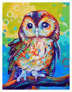 Abstract Lion by TooMuchColor on DeviantArt Colorful Animal Paintings, Owl Paintings, Pop Art, Owl Artwork, Whimsical Owl, Art Deco Posters, Mexican Folk Art, Art Plastique, Bird Art