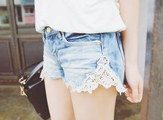 Rip the seam on shorts you've outgrown and insert lace. In love