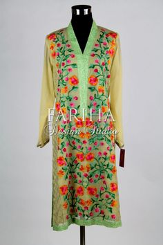 CREAM COLORED WITH FLORAL EMBROIDERED KURTA