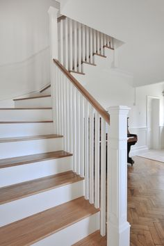 Fresh country living with that 'wow' factor! A solid oak and Farrow & Ball white staircase designing for this family home in Cowbridge, Cardiff. Wood Railings For Stairs, Modern Stair Railing, White Staircase, House Staircase, Staircase Remodel, Wood Staircase, Staircase Makeover, Staircase Railings, Modern Stairs