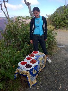 El Salvador - mujer vendiendo moras frambuesas y fresas en el Volcán de San Salvador o Boquerón