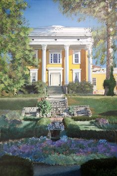 """Here is the number seven painting for 2018. it is the Lanier House Museum in, Madison, Indiana. it is difficult to photograph and thus paint  because when the sun hit the yellow paint,it changes with ever shade! The painting is 24"""" x36"""" Acrylic. Titled """"Lanier House Spring"""""""