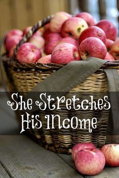 She lives simply and carefully within her husband's income. Her husband will rise up and praise her!