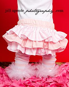 Valentine pink and white striped bloomers diaper cover for baby newborn infant toddler girl