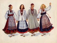 Rekko costumes of the Karelian Isthmus and Ingria -more Finnish, but assimilated into Russia Click through for detail Folk Costume, Costumes, Viking Dress, Russian Folk, Historical Clothing, Folk Clothing, My Heritage, Married Woman, Girls Wear