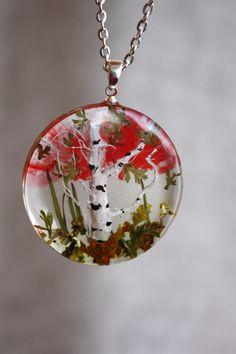 Transparent pendant with miniature birch. Round Pendant . Pendant epoxy resin. birch tree pendant by Dingaya on Etsy