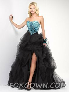 allure tulle strapless ball gown prom dress