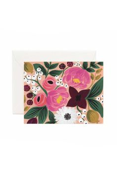 """Peach Vintage Blossoms greeting card by Rifle Paper Co. This single chic folded card uses full-color on natural white paper stock has a blank interior and comes with a soft white envelope.  Measures:4.25"""" x 5.5""""  Floral Card by Rifle Paper Co. . Home & Gifts - Gifts & Things Home & Gifts - Gifts - Stationery & Office District of Columbia"""