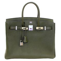 Hermes Birkin Bag in Vert Olive green Togo Leather, 35 cm size | From a collection of rare vintage top handle bags at https://www.1stdibs.com/fashion/handbags-purses-bags/top-handle-bags/