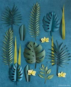 a simple tutorial to make a gorgeous DIY tropical wreath complete with palm leaves, monstera and orchid blooms. Once you trim and color all your botanical - DIY and Crafts Paper Flowers Diy, Flower Crafts, Diy Paper, Paper Crafting, Paper Art, Origami Flowers, Tissue Paper, Origami Paper, Diy And Crafts