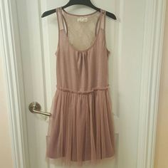 Mauve pink A'reve ballerina dress Dusty rose/mauve dress from A'reve made of jersey, lace and tulle. This dress is very comfortable, and looks great worn casually or dressed up with jewelry and accessories. Has been worn and washed twice. Due to the elastic waist and stretchy fabrics, dress could fit a small or a medium. A'reve  Dresses