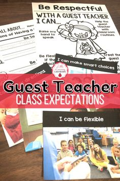 Teach your students the expectations for having a guest teacher. Editable to match your school's PBIS rules. Encourage students to be flexible, kind, and helpful when there's a substitute teacher. Posters, student pages, and real life pictures included. #backtoschool #classroommanagement #guestteacher Calm Classroom, Classroom Behavior, Classroom Environment, Classroom Management, Class Expectations, Classroom Expectations, Teacher Posters, Substitute Teacher, Positive Behavior
