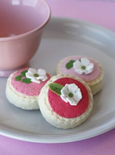 Felt Tea Sugar Cookie Magnet Set Watermelon Pinks And White Lilac Blossoms