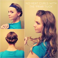 Curl your hair without heat using a headband video tutorial. I've used this a few times and it works pretty well and holds all day (And I have very fine hair that doesn't like to hold.)