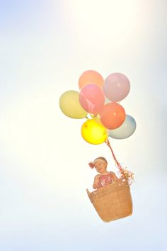 cute baby in balloon basket / hot air balloon concept - adorable!